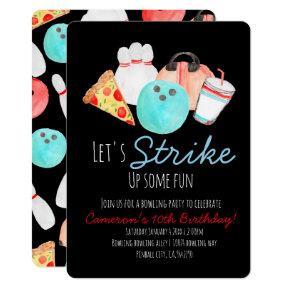 Bowling birthday party invitation black invite