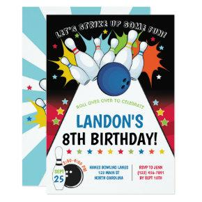 Bowling Birthday Party Invitation, Boy Invitation