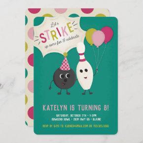 Bowling Birthday Party Invitation - Girl, Invite