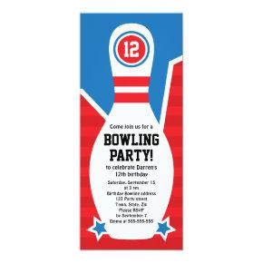 Bowling birthday party Invitations with pin