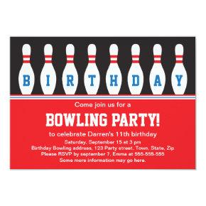 Bowling birthday party invitation with pins