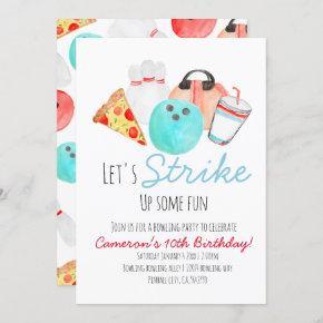 Bowling birthday party kid invitation