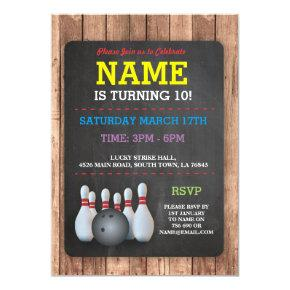 Bowling Birthday Party Tenpin Boys Girls Invite