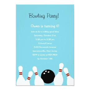 Bowling Fun Party Invitations (Turquoise)
