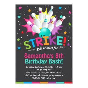 bowling Invitations, bowling birthday invite