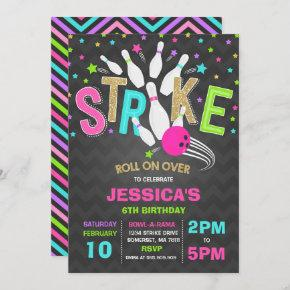 Bowling Invitation Bowling Birthday Party Strike