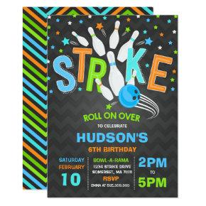Bowling Invitation Bowling Birthday Party Strike