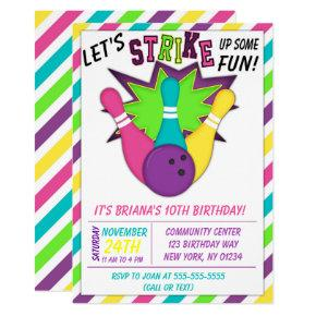 Bowling Invitations for a Girls Birthday Party