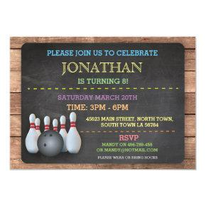 Bowling Invite Invitation Let's Bowl Chalkboard