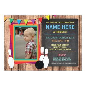Bowling Invite Photo Bowl Chalkboard Invitation