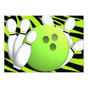Bowling Neon Green and Zebra Invitation