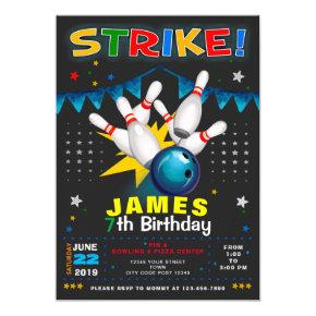 BOWLING PARTY BIRTHDAY INVITATION