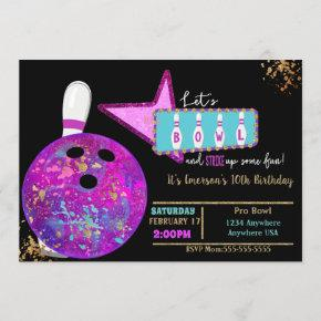 Bowling party, Birthday Neon glow bowling Invitation