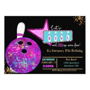 Bowling party, Birthday Neon glow bowling Invitation