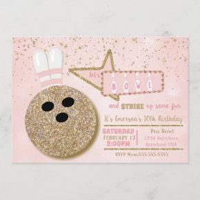 Bowling party, Birthday pink glitter look Invitation