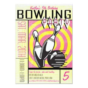 Bowling Party Invitations - Pink