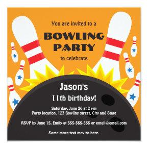 Bowling party invitation with bowling ball