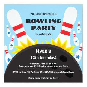 Bowling party invitation with bowling ball, blue