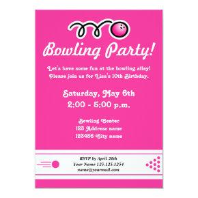 Bowling party invitations for girl's Birthday