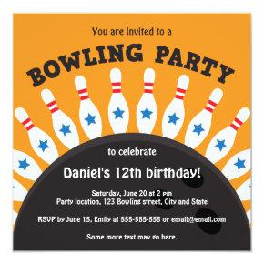 Bowling party invite with bowling ball and pins
