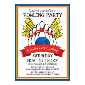 Bowling Party | Kids Colorful Birthday Invitation