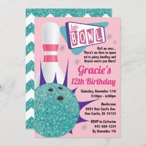 Bowling Party Retro Pink & Teal Tenpin Invitation