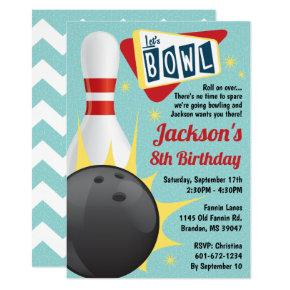 Bowling Party Retro Tenpin Invitation