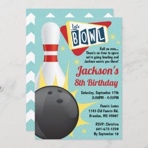 Bowling Party Retro Tenpin Invitation