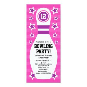 Bowling pin birthday party Invitations with stars