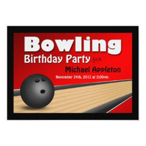 Bowling - Red Birthday Party Invitations