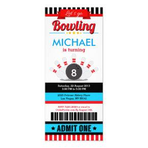 Bowling Ticket Pass Birthday Party Invitation