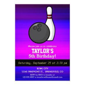 Bowling; Vibrant Violet Blue and Magenta Invitation