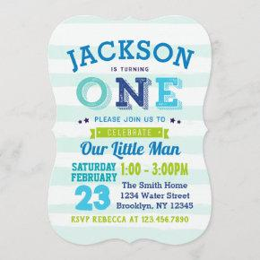 Boy 1st Birthday Invitation Blue Green Little Man