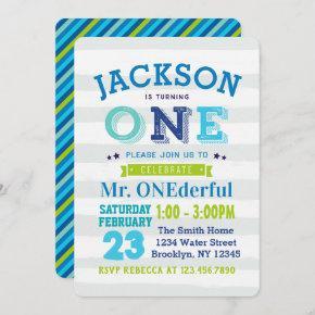 Boy 1st Birthday Invitation Mr ONEderful blue gray