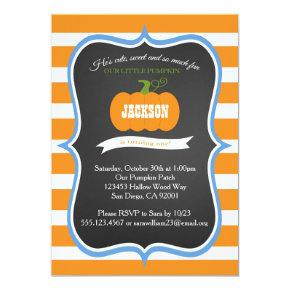Boy 1st Birthday Pumpkin Fall Party Invitation
