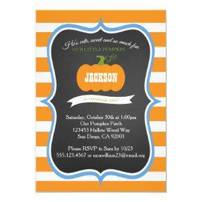 Boy 1st Birthday Pumpkin Fall Party Invitations