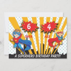 Boy and Girl Superhero Birthday Invitation