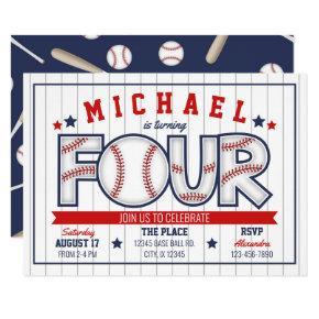 Boy Baseball 4th Birthday Invitation