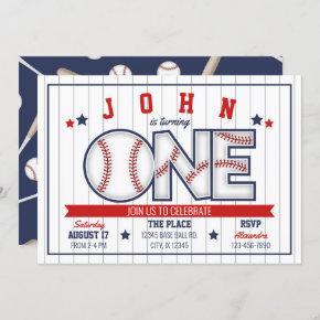 Boy Baseball First Birthday Invitation