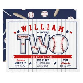 Boy Baseball Second Birthday Invitation