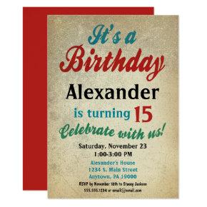 Boy Birthday Invitation Teen Tween Kids Any Age