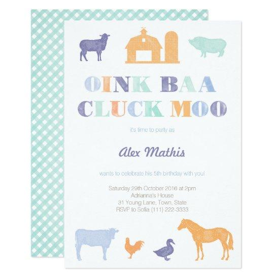 Boy Birthday Invites Farm Party Petting Zoo Candied Clouds