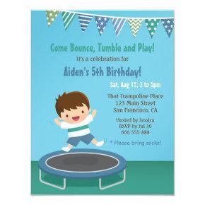 Boy Bouncing on Trampoline Kids Birthday Party Invitations