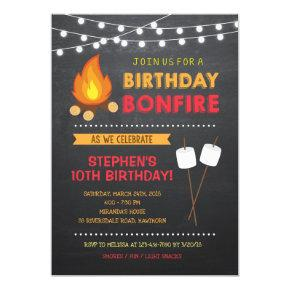 Boy Camp Bonfire Birthday Invitation