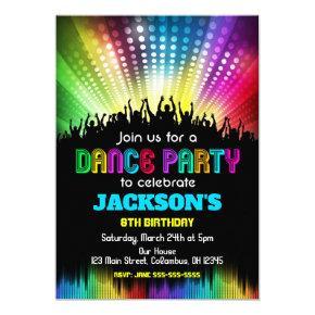 Boy Dance Party Birthday Invitations