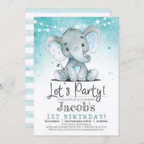 Boy Elephant Birthday Party Invitation