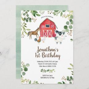 Boy Farm Animals Barnyard Birthday Invitation