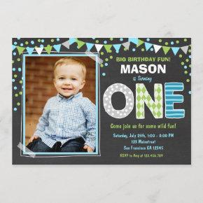 Boy First Birthday Chalkboard Invitation