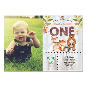Boy First Birthday Custom Photo Woodland Wild One Invitation