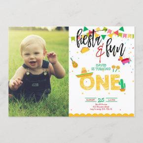 Boy First Fiesta Birthday Photo Picture Invitation